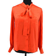 Cc Logos Bow Charm Long Sleeve Tops Shirt Red Authentic 60203