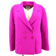 95a 42 Double Breasted Cc Button Tweed Long Sleeve Jacket Pink 60218