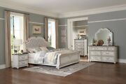 4 Pc Farmhouse Style Antique White Queen Bed Ns Dresser And Mirror Bedroom Set