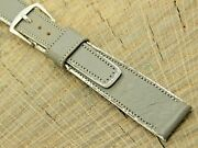 Wyler Vintage Pre-owned Watch Band Gray/white Leather W Silver Tone Buckle 16mm