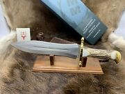 Muela 15 1/2 Podenquero Knife Stag Handles And Leather Sheath Mint In Box A