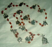 Stations Of The Cross Brown Wood Beads W/ Silver Tone Rosary Chaplet Nib