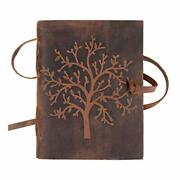 Leather Journal Tree Of Life - Writing Notebook Handmade Leather Bound 7 X 5