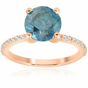 Huge 3 1/5ct Blue Diamond Engagement Ring 14k Rose Gold Solitaire With Accents
