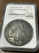 Italy Papal States. Innocent Xii Piastra Anno Iiii 1694 Au53 Ngc