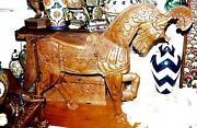 Original Mexican Statue Of A Horse Carved From One Piece Of Wood