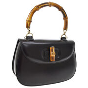 Bamboo Line 2way Hand Bag Black Leather Italy Vintage Authentic Ak34155d