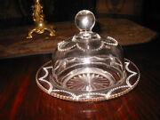 Old Heisey Clear Glass Domed Butter Dish Style 1295, Gold Edge Plate.5.5 Tall