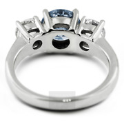 1.34ct Blue Si1 Round Natural Certified Diamonds Plat Classic Three-stone Ring