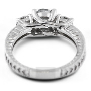 1.31ct D-si1 Round Natural Certified Diamonds 18k Gold Classic Three-stone Ring