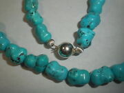 Genuine Natural Blue Turquoise 17 Choker Necklace Vintage Mint Unused Chunky