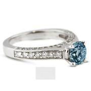 1.45ct Blue Si3 Round Natural Certified Diamonds 14k Classic Side-stone Ring