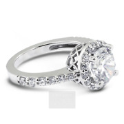 1 1/2 Ct D Vs2 Round Cut Natural Certified Diamonds 14k Gold Halo Sidestone Ring