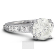 2.13ct G-si2 Round Earth Mined Certified Diamonds 14k Classic Side-stone Ring