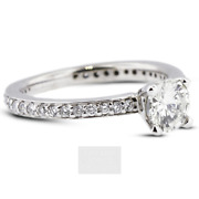 1.38ct G-vs2 Round Earth Mined Certified Diamonds 18k Classic Sidestone Ring