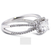 1.79ct D-si2 Radiant Natural Certified Diamonds 18k Gold Halo Side-stone Ring