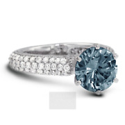 2 Ct Blue Si3 Round Brilliant Natural Certified Diamonds Plat Side-stone Ring