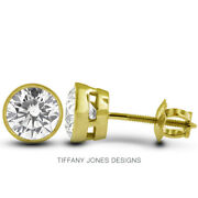 1 Ct E Si2 Round Cut Earth Mined Certified Diamonds 14k Gold Classic Earrings