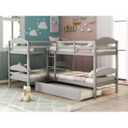L-shaped Bunk Beds W/ Trundle Twin Over Twin Bunk Beds Wood For Kids Teens Adult