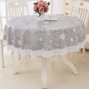 Lohascasa Round Vinyl Oilcloth Lace Tablecloth Waterproof Pvc Wipeable Spillproo