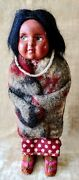 Antique Skookum Native American Bully Good Doll With Necklace