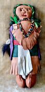 Vintage Souvenir Native American Indian Leather Doll Fringe And Beadwork 1930's