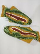 Pair Ritz Decorative Fish Oven Mitts Rainbow Trout, Bass Fishing Heat Grill Cave