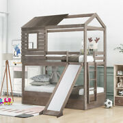 Wooden House Bed Twin Over Twin Bunk Beds W/ Storage Drawers And Slide White/gray