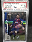 2019 Topps Chrome Ucl Lionel Messi Blue Refractor Psa 10 78/150