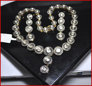 925 Sterling Silver Rose Cut Diamond Polki Necklace Set Antique Look Jewelry Bo