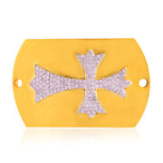 18k Yellow Gold Dog Tag 1.1ct Pave Diamond Cross Sign Connector Finding Jewelry