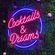 Cocktails And Dreams Custom Neon Sign Wedding Initials Letters Logo Bar Shop Sign