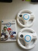 Nintendo Wii Mario Kart With 2 Official Wii Wheels. Fully Tested.