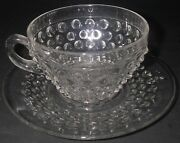 Duncan And Miller Glass Hobnail Clear Cup And Saucer Pressed Elegant Glassware