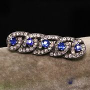Antique Victorian 14k Yellow Gold Silver Top Rose Cut Diamond And Sapphire Pin
