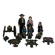 Vintage Cast Iron Amish Figures And Trivets W/brass Cannons