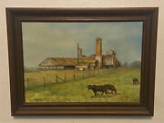 Vintage Signed Oil On Canvas Painting -don Reggio - Cowssugar Mill Farm Rural