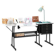 Computer Desk Folding Side Sewing And Cutting Table W/ Machine Drawers Shelf White