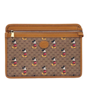 Disney Mickey Mouse Collaboration Clutch Pouch Bag Canvas Leather Limited