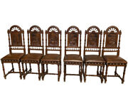 Antique Breton Dining Chairs, Set Of Six 6, Oak And Leather, 1920's