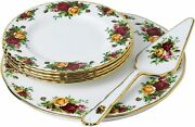 Royal Albert Old Country Roses 6 Piece Cake Server Set, No Pie Server And Bad Box