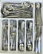 86pc Oneida Community Brahms Stainless Flatware For 10+ W/serving Pcs Euc