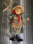 Vintage Marionette String Puppet Girl With Jump Rope Braids And Straw Hat 16 Tall