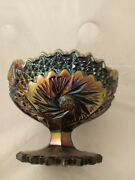 Vintage Fenton Whirling Star Purple Carnival Glass Compote Open Candy Dish