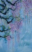 Large Contemporary Wisteria Vine Original Painting Ready To Hang Wall Art Canvas