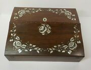 19th C Travel Desk / Writing Slope Inlaid Mother-of-pearl Decoration