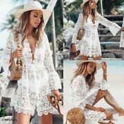 Summer Lace Hollow Crochet Bikini Cover Up Women Swimsuit Floral White Tunic