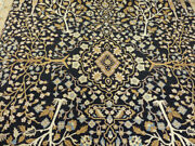 9and039x12and0395 New Luxurious Black Hand Knotted Wool Super Pak Tabrizz Tree Of Life Rug