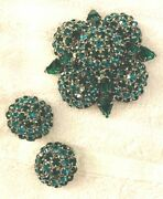 Warner Green Brooch And Matching Clip On Earrings Set, 1950's Costume Jewelry