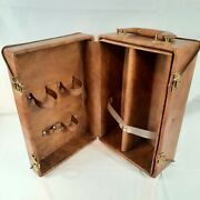 Vintage Faux-leather Brown Travel Bar/luggage Cocktail Case W/handle Free Shipi